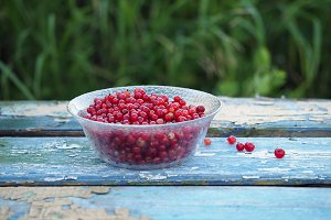 A bowl of red currants on an old