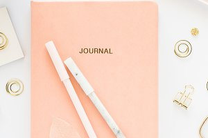 Stock Photo - Journal, pens, desk