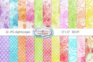22 Fantasy Floral Patterned Papers