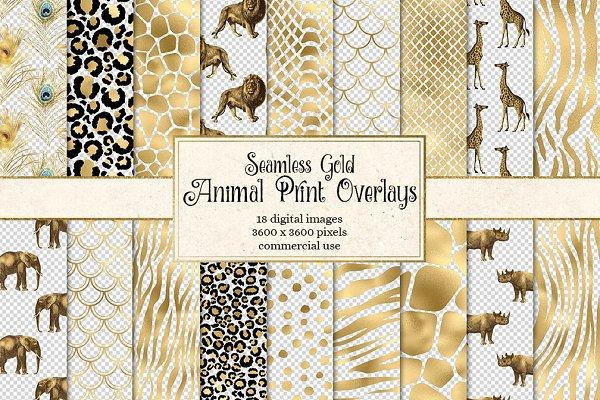 Gold Safari Animal Print Patterns