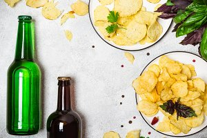 Crispy potato chips and and beer bot