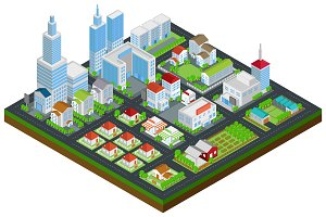 Cityscape in 3D isometric vector