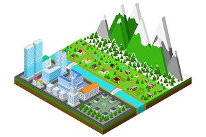 Cityscape in 3D isometric vector 2