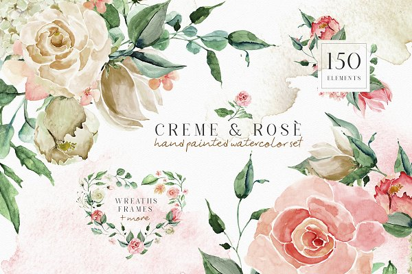 Illustrations and Illustration Products: Creativeqube Design - Creme & Rose Watercolor Set