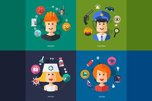 Flat Design Professions Avatars