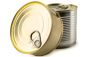 Two iron canned food on a white