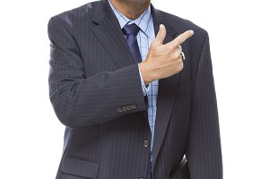 Handsome Businessman Pointing to the
