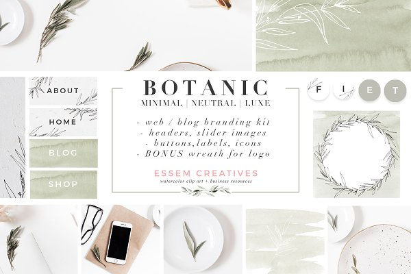 Web Elements: Essem Creatives - Botanical Website Blog Branding Kit