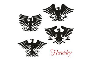 Heraldic eagle, falcon or hawk
