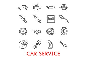 Car service station and repair icons
