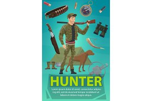 Hunter with rifle, hunting sport