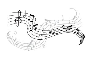 Musical note and treble clef