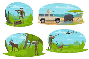Hunter aiming rifle and animals