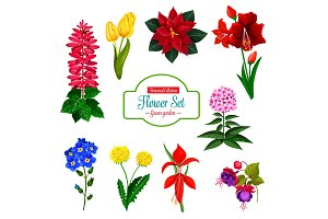 Flower icon of spring garden