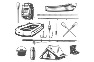 Fishing sport equipment sketch