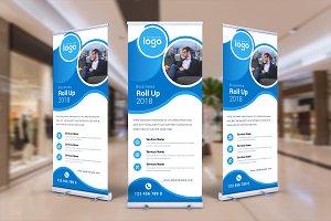 Blue Roll-Up Banner Design