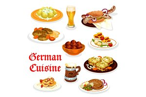 German cuisine dinner icons