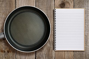 Frying pan and recipe book