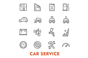 Car service thin line icons