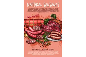 Sausage, beef and pork meat product