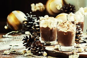 Hot chocolate with marshmallows in a