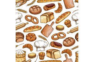 Bread and pastry food pattern