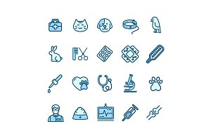 Veterinary Clinic Thin Line Icon Set