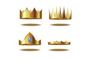 3d Golden Crown Set. Vector