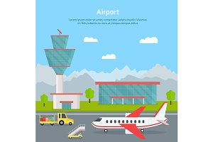 Airport Building and Airplanes Card