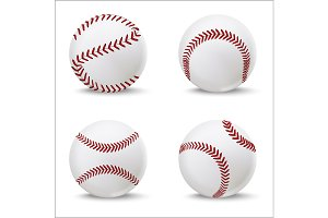 Baseball Leather Ball Set. Vector