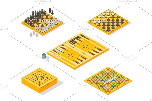 Board Games Icons Set Isometric