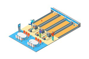 Bowling Alley Isometric View. Vector