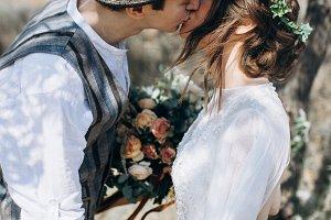 Sweet kiss on wedding day