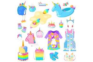 Unicorn vector cartoon kids