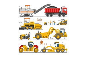 Excavator for road construction