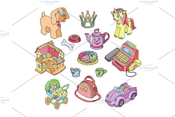 Kids toys vector cartoon games for