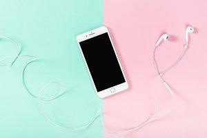Mobile phone headphones pink blue ba