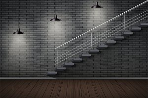 Dark brick wall and prison or loft