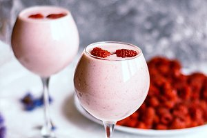 Raspberry Milk Cocktail with Banana