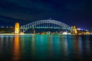 Sydney Harbour Bridge at night with