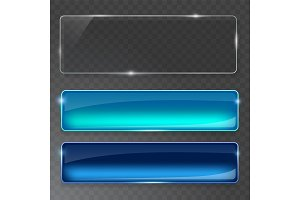 Glass plates set. Vector glass