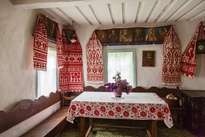 interior of the old Ukrainian hut