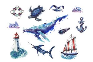 Watercolor sea collection