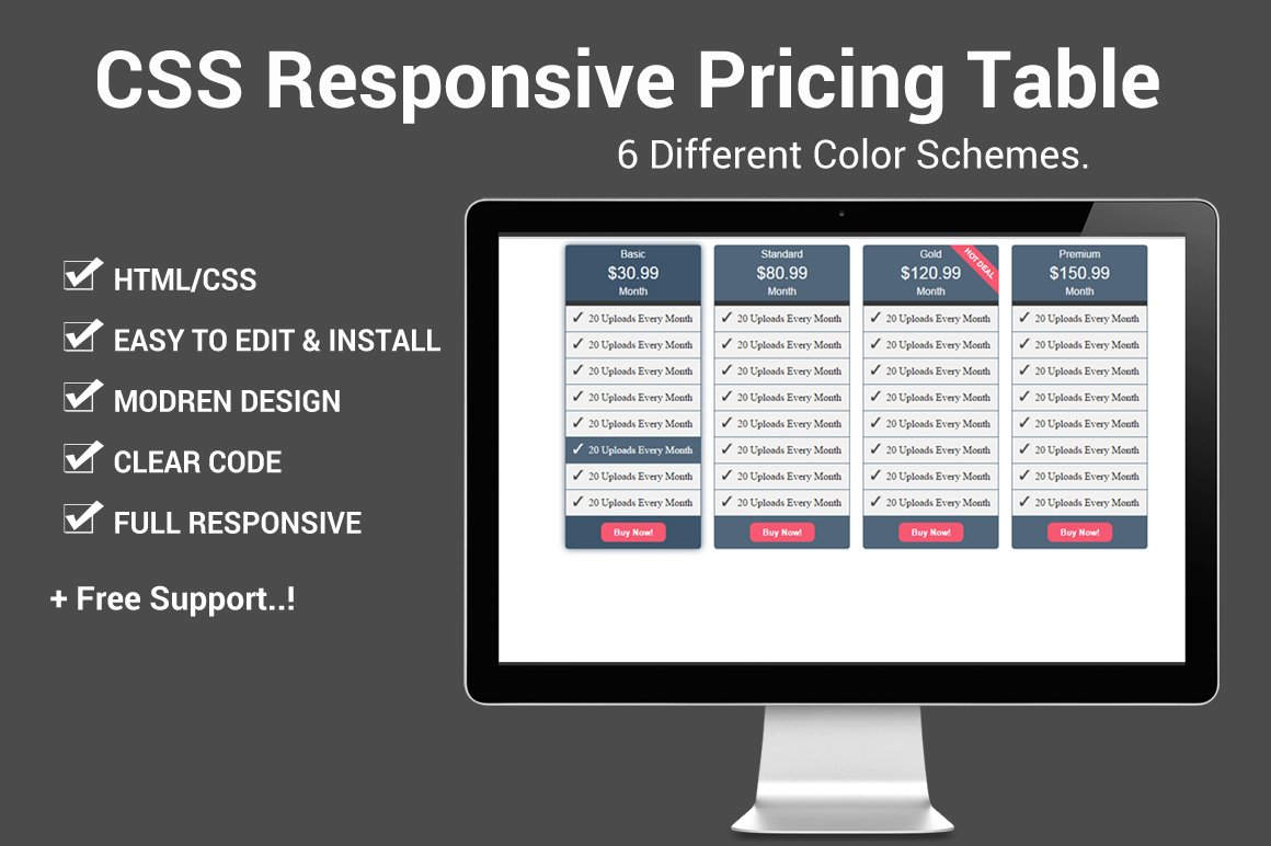 Css responsive pricing table html css themes creative for Responsive table