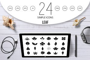 Leaf icon set, simple style