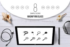 Magnifying glass icon set, simple