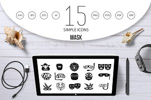 Mask icon set, simple style