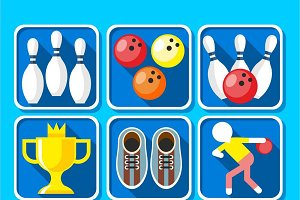 Colorful Bowling Icons Set