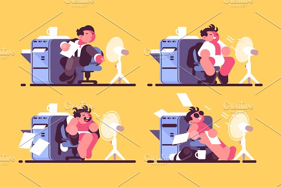 Man in office cooled by fan in Illustrations