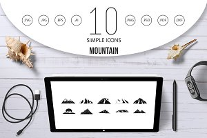 Mountain icon set, simple style